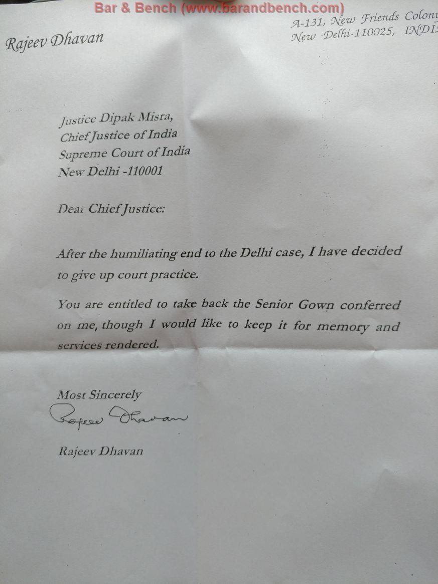 Rajeev Dhavan Dipak Misra Letter
